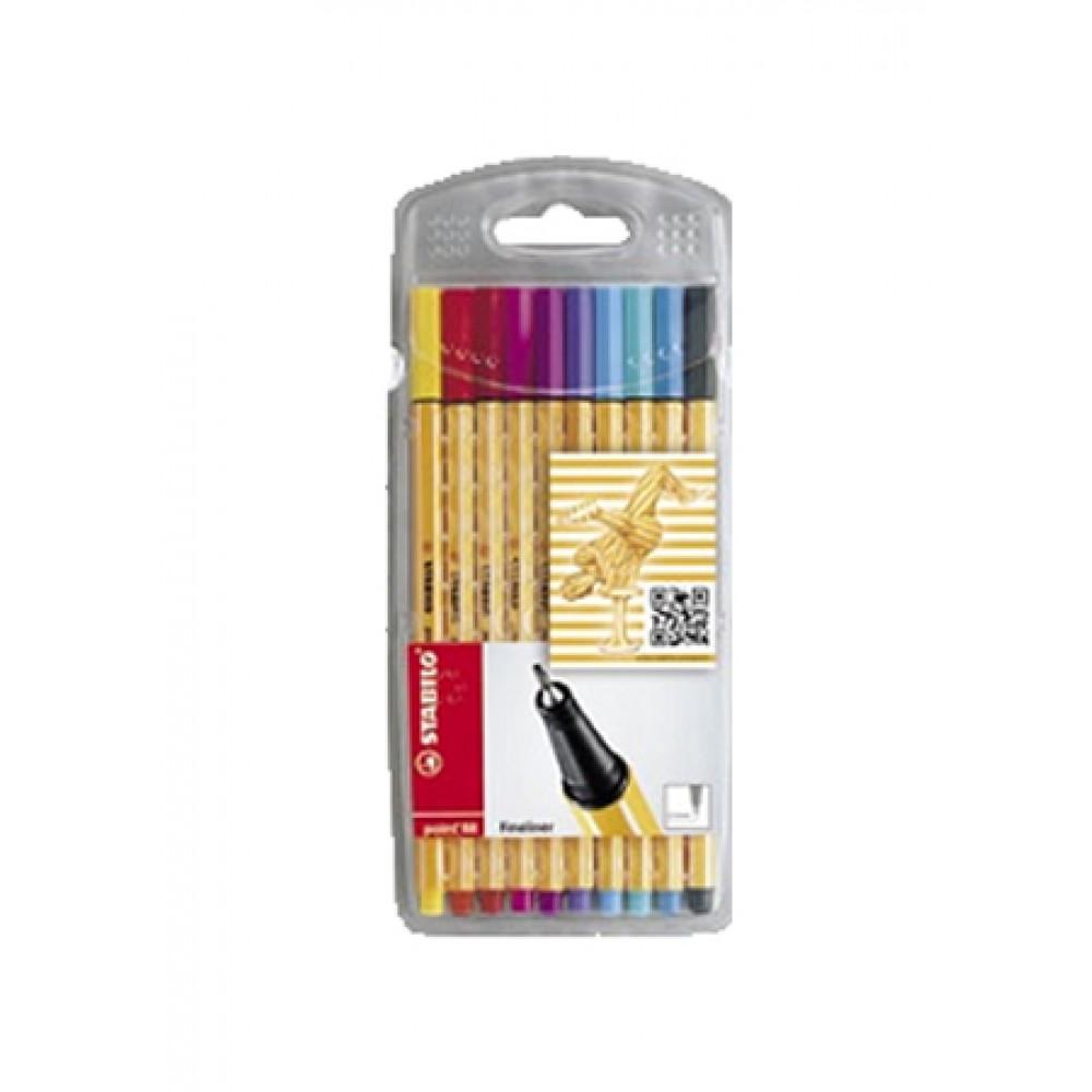 STABILO Fineliner Pen Point 88 - Wallet of 10 Pieces