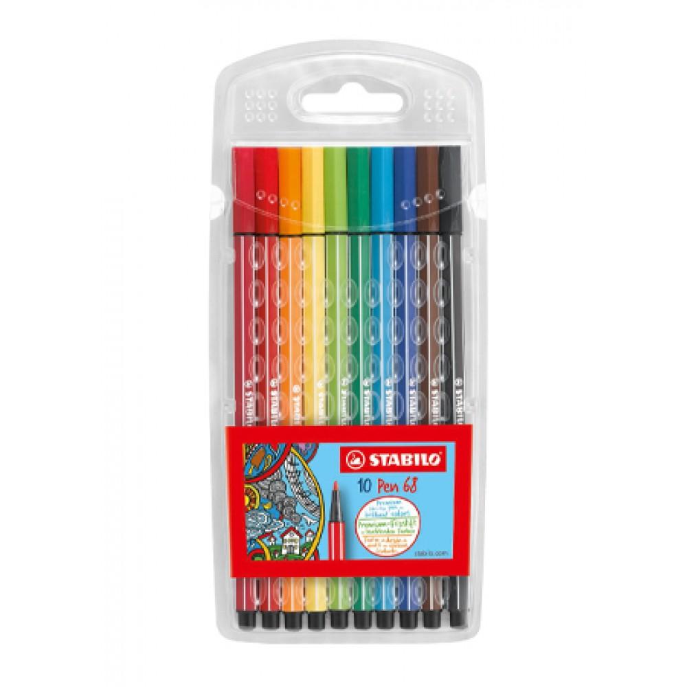 STABILO Pen 68 Fibre-tip Pen - Wallet of 10 Pieces