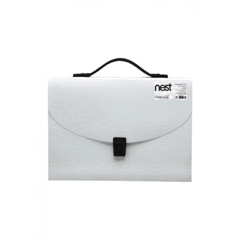FOLDERMATE NEST SERIES EXPANDING FILE A4 13 POCKETS WITH HANDLE - WHITE