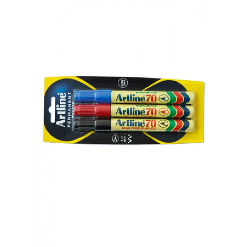 ARTLINE 70 Permanent Marker (Bullet) 3 Pieces in Pack - Assorted Colour