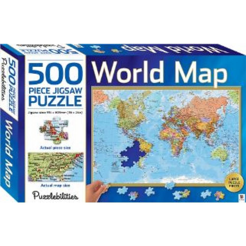 HINKLER JIGSAW PUZZLE WORLD MAP 500PCS