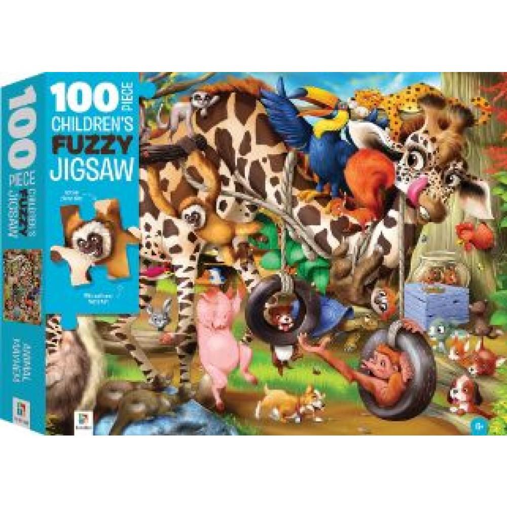 HINKLER CHILDREN FUZZY JIGSAW PUZZLE  ANIMAL MAYHEM 100PCS