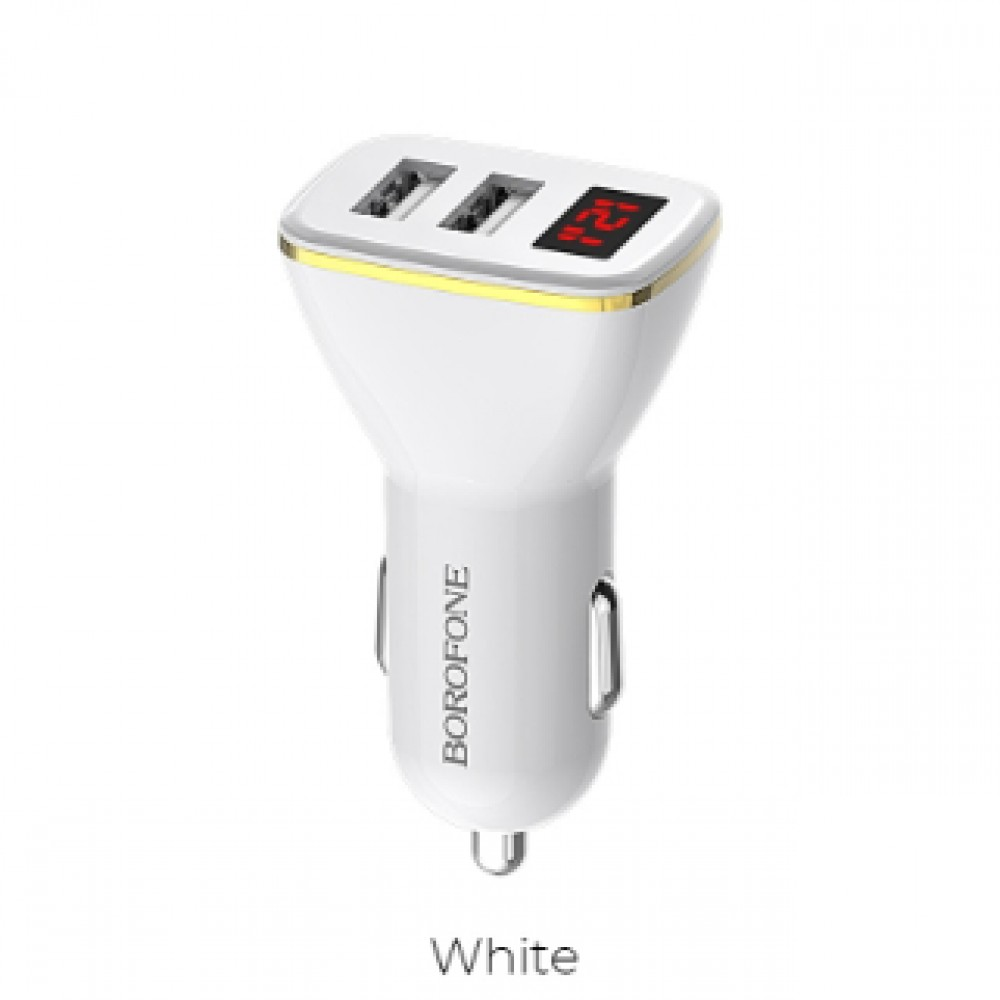 BOROFONE BZ11 2PORTS USB 2.1A CAR CHARGER WITH DIGITAL INDICATOR WHITE