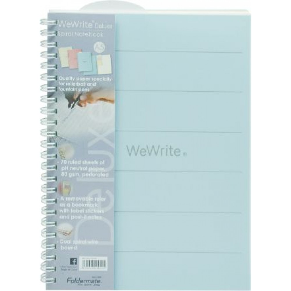 FOLDERMATE WEWRITE DELUXE SERIES SPIRAL NOTE BOOK A5 - BLUE