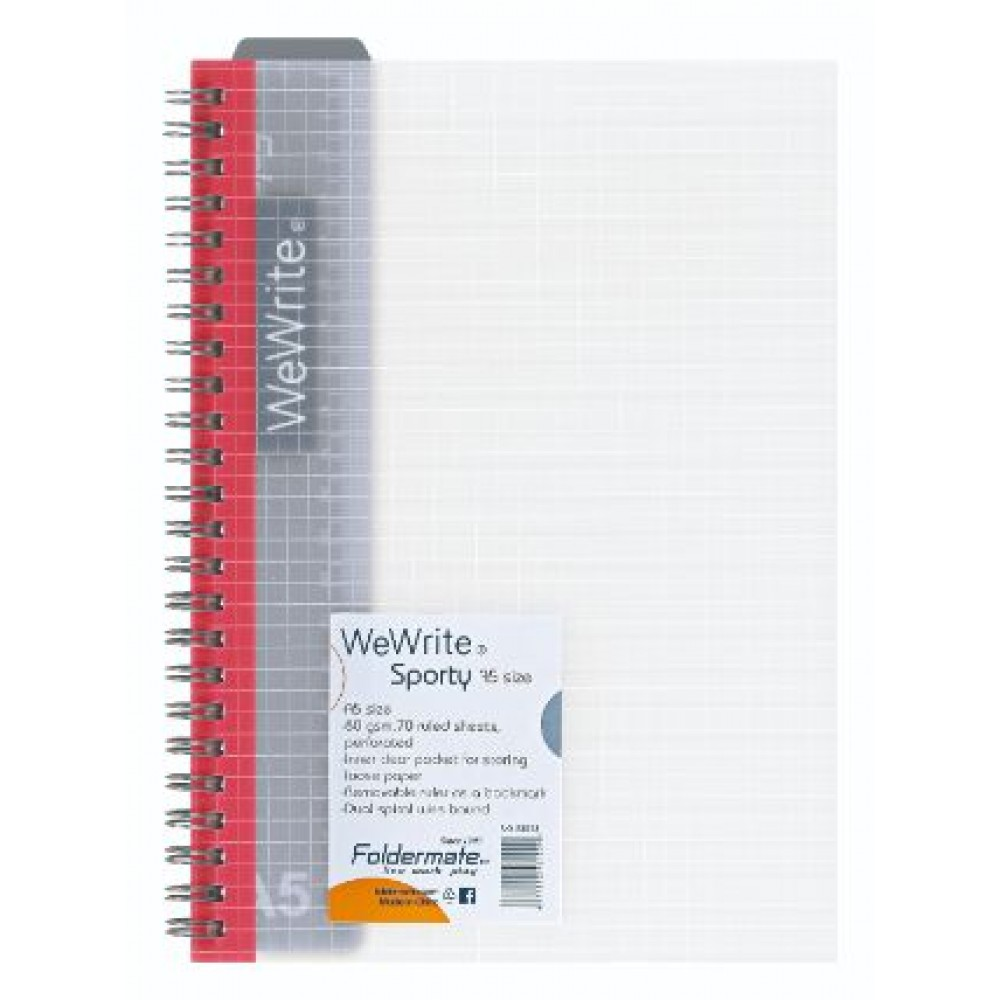 FOLDERMATE WEWRITE SPORTY SERIES SPIRAL NOTE BOOK A5 RED