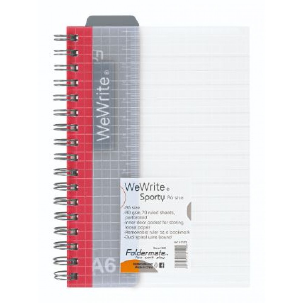 FOLDERMATE WEWRITE SPORTY SERIES SPIRAL NOTE BOOK A6 RED