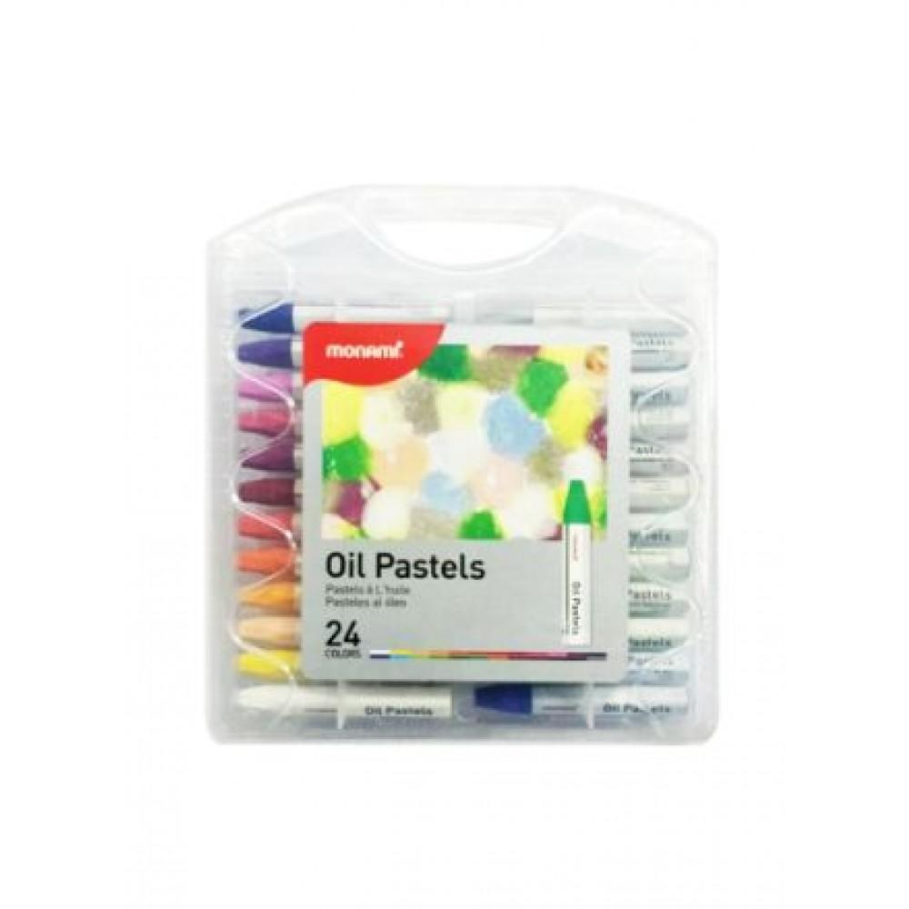 MONAMI OIL PASTELS - 24 COLOURS PP CASE