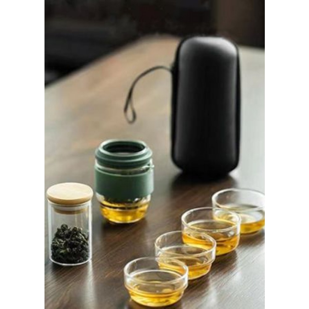 PORTABLE OUTDOOR GLASS TEA SET CUP (SET OF 8)