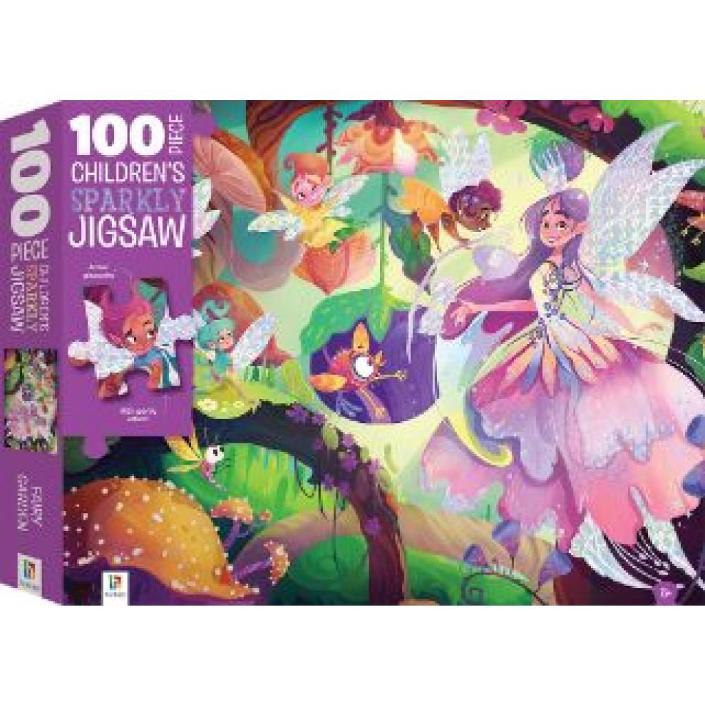 HINKLER CHILDREN JIGSAW PUZZLE SPARKLY FAIRY GARDEN 100PCS