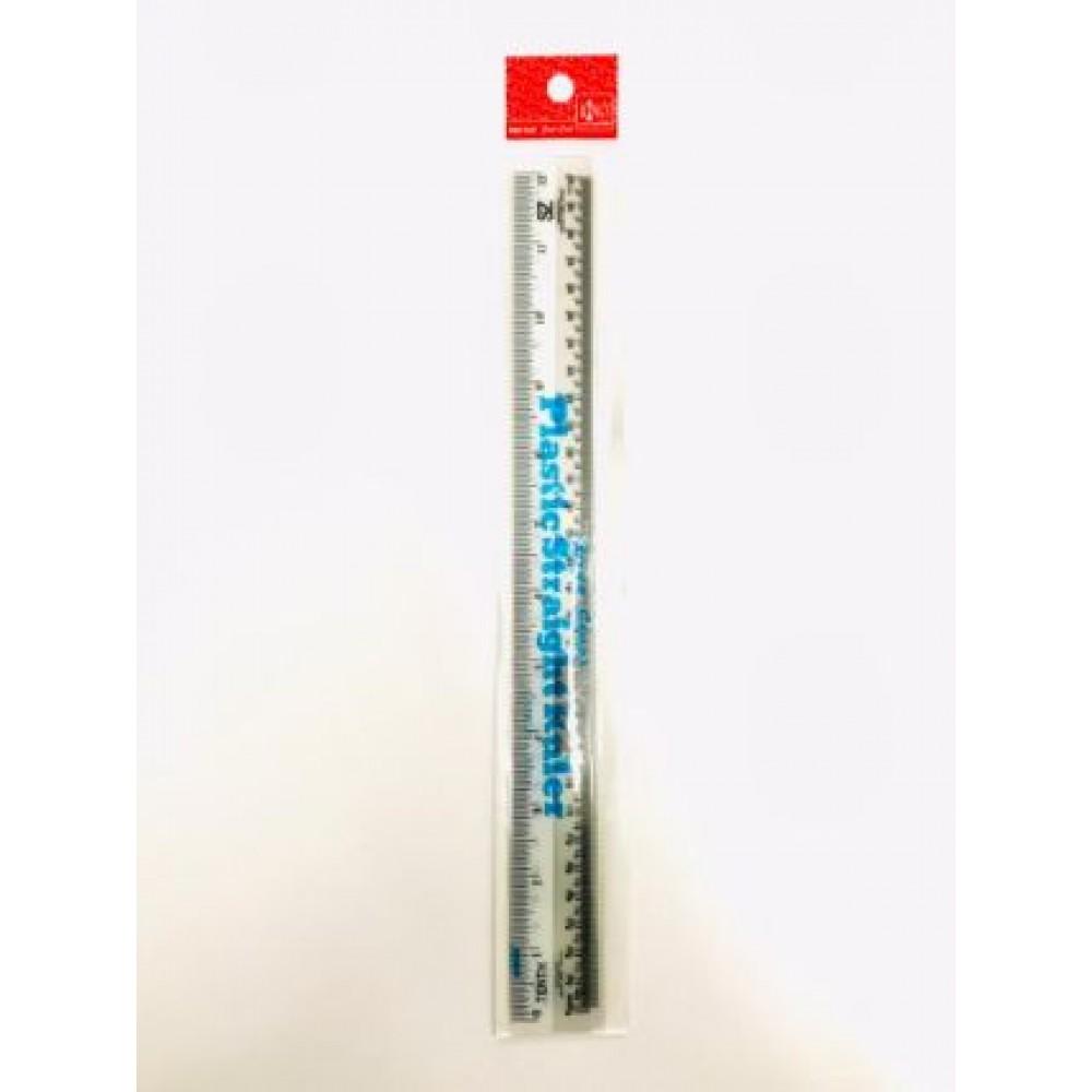 """PLASTIC STRAIGHT RULER 30cm 12"""" 3PCS/ PACK"""