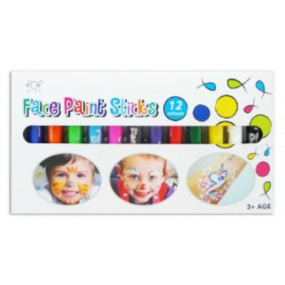 POP ARTZ FACE PAINT STICKS 12 COLOURS