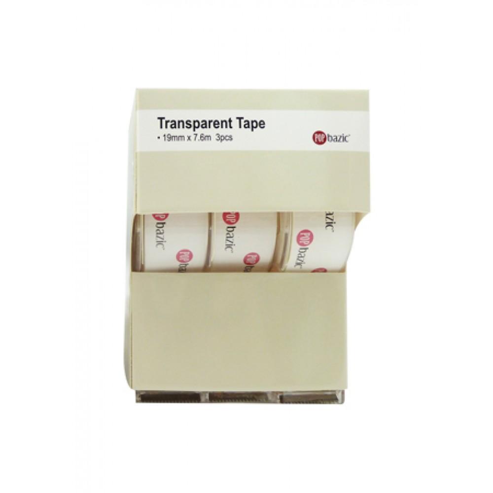POP BAZIC TRANSPARENT TAPE 19MM*7.6M 3'S