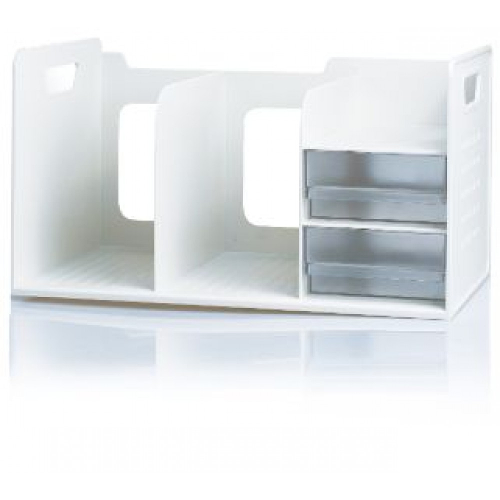 SDLP BOOK RACK WITH 2 DRAWER -  WHITE