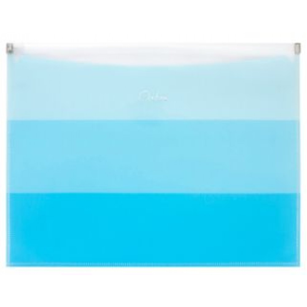 POP BAZIC OMBRE SERIES ZIPPER BAG WITH POCKET A4 BLUE