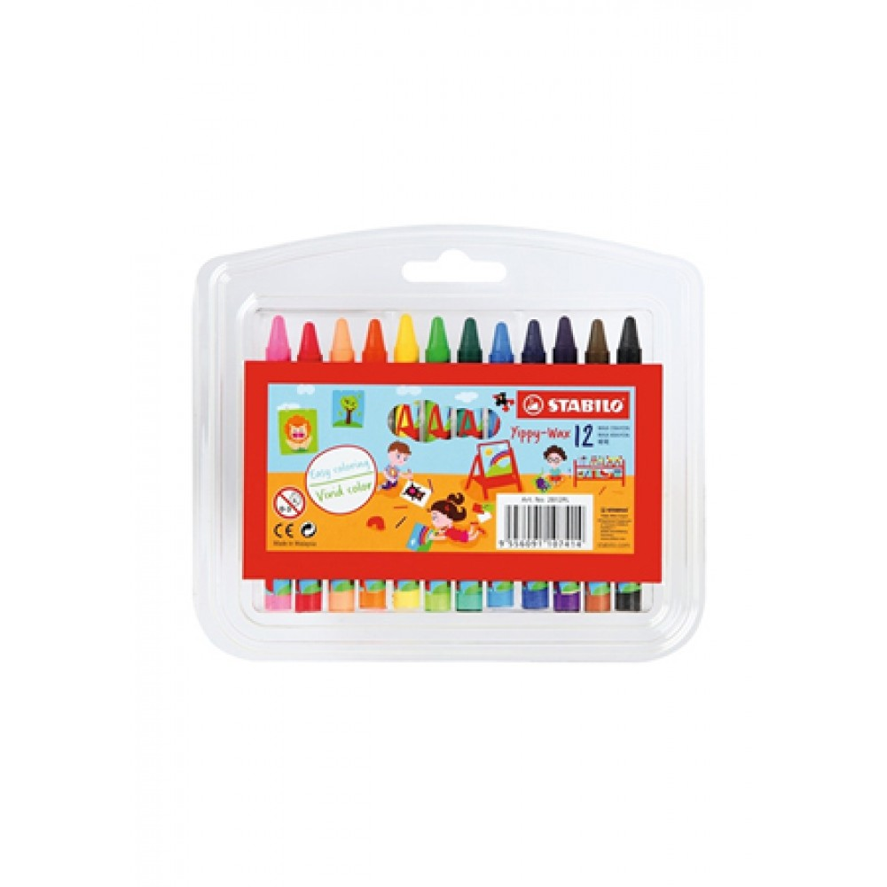 STABILO YIPPY-WAX CRAYON - 12 COLOURS
