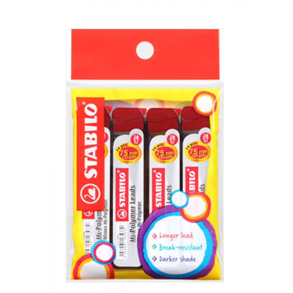 Stabilo Hi-Polymer 2B Pencil Lead 0.7mm in Pack of 4 Pieces