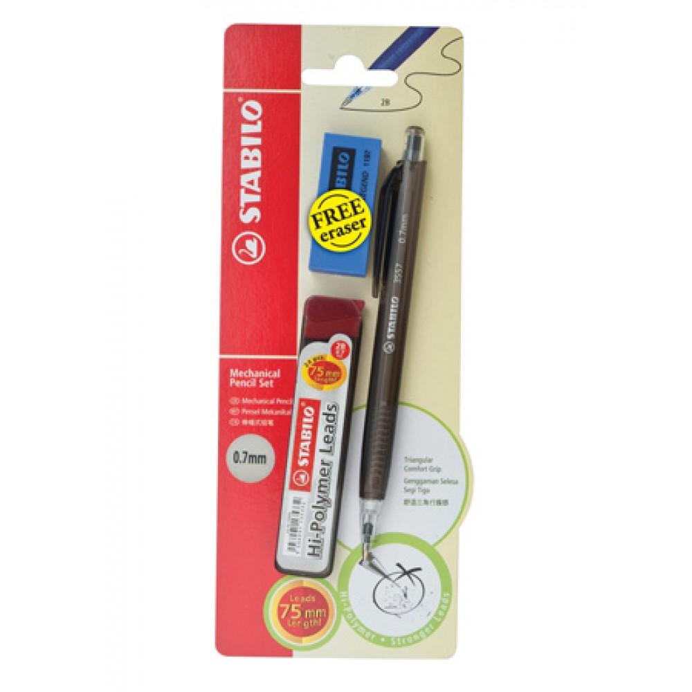 Stabilo 3557 0.7mm Mechanical Pencil + Pencil Lead + Eraser (Random Color)