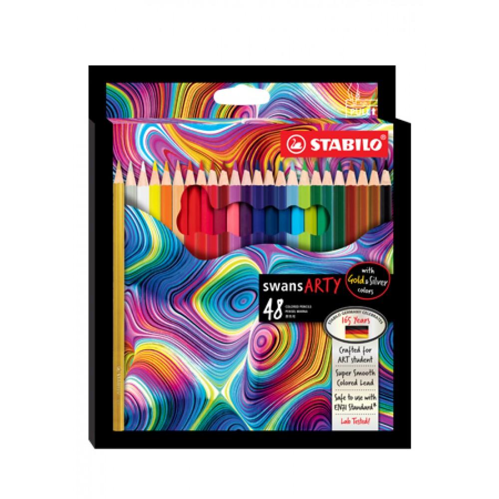 STABILO SWANS ARTY COLOURED PENCILS - 48 LONG