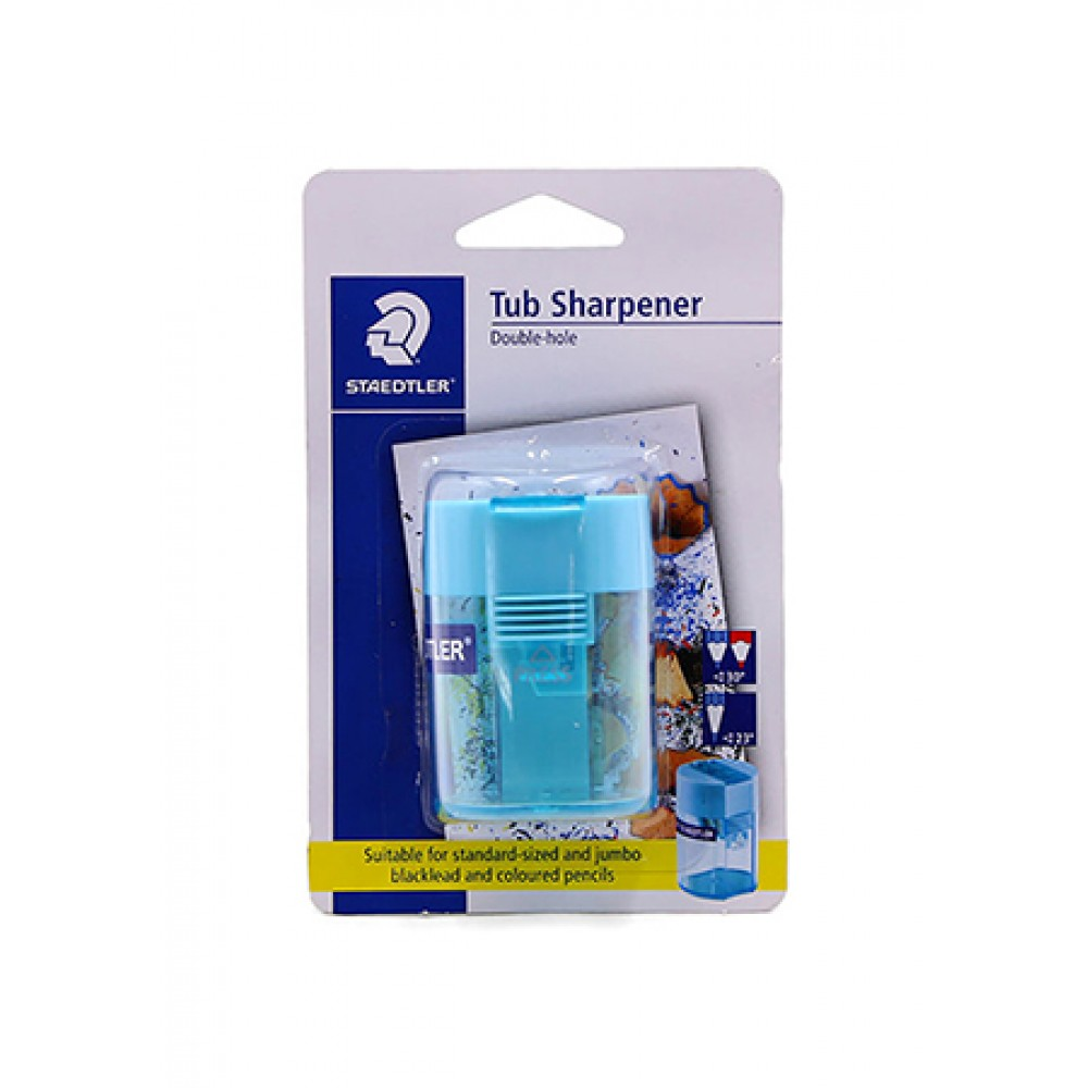 STAEDTLER DOUBLE-HOLE TUB PENCIL SHARPENER - TURQUOISE