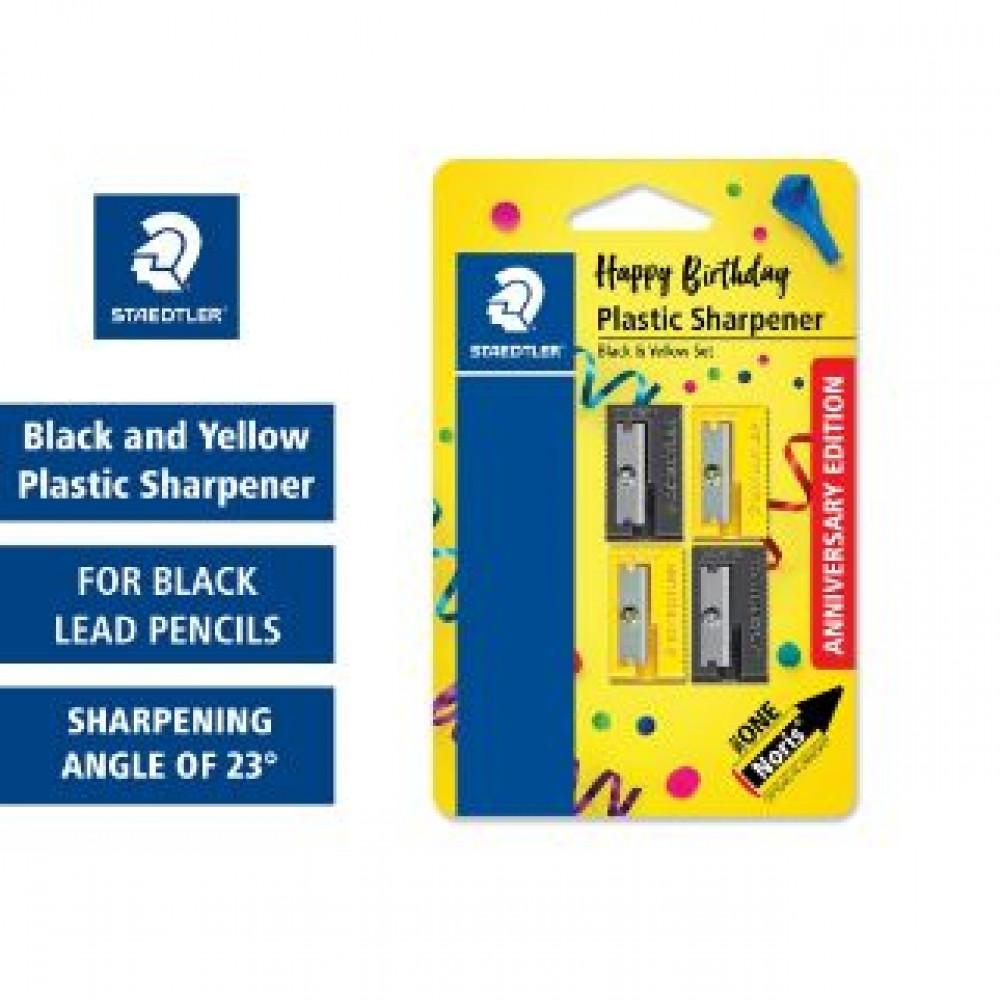 STAEDTLER PLASTIC SHARPENER BLACK AND YELLOW ANNIVERSARY EDITION