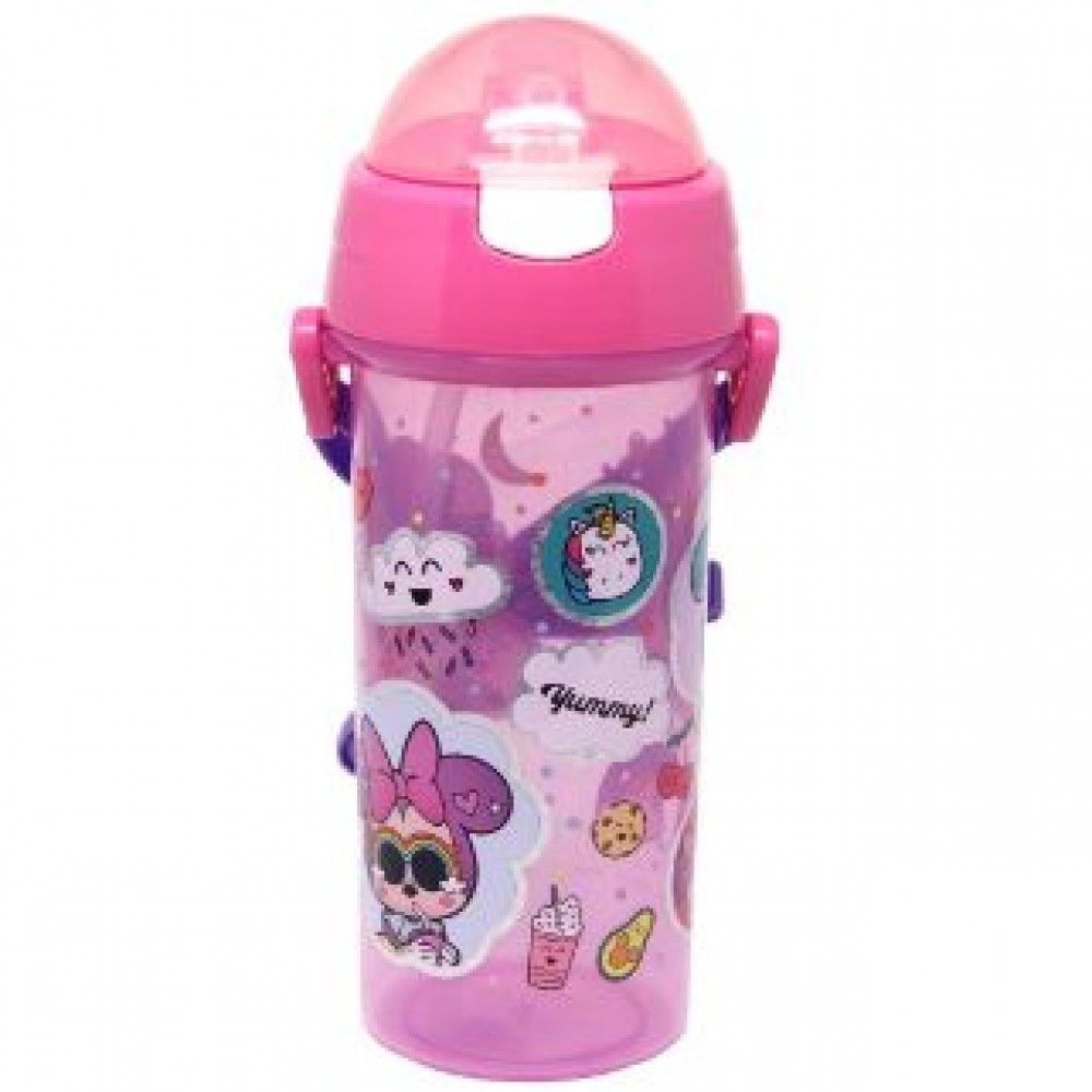 MINNIE TOO CUTE WATER BOTTLE WITH STRAW 600ML