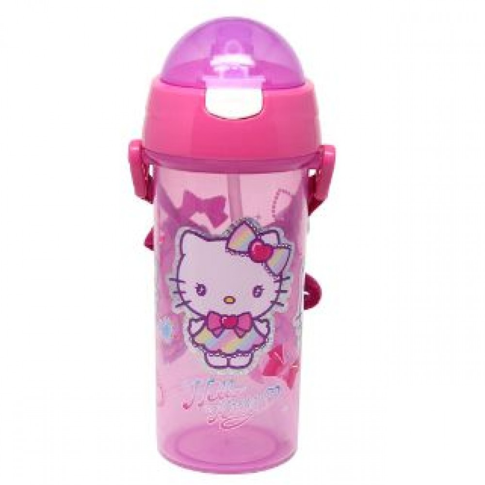 HELLO KITTY WATER BOTTLE WITH STRAW 600ML