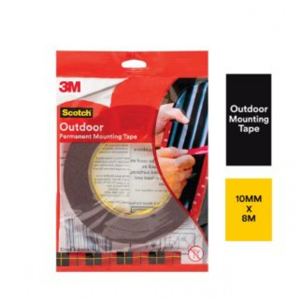 3M SCOTCH OUTDOOR PERMANENT MOUNTING TAPE (10MM X 8M) (1 ROLL/PCK)