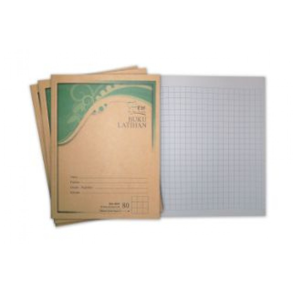 UNI Kraft Cover Exercise Book 80 Pages Medium Small Square