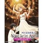 YOUR LIE IN APRIL 四月是你的謊言 VOL.1-22 END + OVA + MOVIE + LIVE ACTION MOVIE (4DVD)