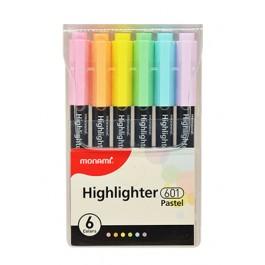 MONAMI SUPER ADDING 601 Highlighter 6 Pastel colours