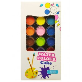 POP ARTZ WATER COLOUR CAKE WITH BRUSH 21 COLOURS
