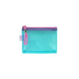 POP BAZIC PVC COLOUR TRANSPARENT ZIPPER BAG A7 BLUE