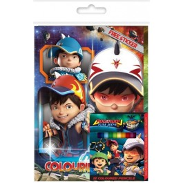 BOBOIBOY COLOURING BOOK SET (WITH STICKER & COLOUR PENCILS)