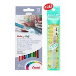 PENTEL WATERCOLOUR PENCILS - 12 LONG (WITH FREE GIFT)