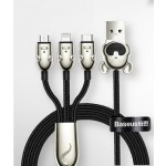 BASEUS 1 PULL 3 MICE CABLE 1.2Metre {BLACK CAMLT-MU01}