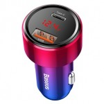 BASEUS CCMLC20C-09 45W PD TYPE-C+QC4 USB DIGITAL INDICATOR CAR CHARGER RED
