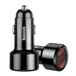 BASEUS CCMLC20A-01 45W 2 PORTS QC3 USB DIGITAL INDICATOR CAR CHARGER BLACK