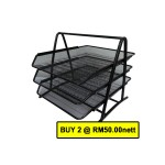 POP BAZIC 3 TIER MESH LETTER TRAY BLACK