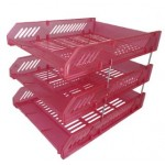 POP BAZIC 3 TIER PP LETTER TRAY TRANSPARENT PINK