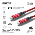 ONPRO UC-C2CPD150-RE TYPE-C CABLE RED 1.5METRE
