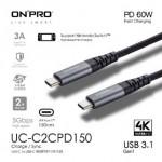 ONPRO UC-C2CPD150-BK TYPE-C CABLE GREY 1.5METRE