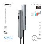 ONPRO ARK05 PD 60W TYPE-C+4K HDMI+USB3+CARD READER MULTIPORT HUB