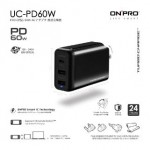 ONPRO UC-PD60W-BK PD 60W TYPE-C+2USB TRAVEL CHARGER BLACK
