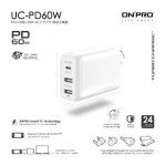 ONPRO UC-PD60W-WH PD 60W TYPE-C+2USB TRAVEL CHARGER WHITE