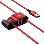BASEUS CALHZ-09 SPECIAL DATA CABLE FOR BACKSEAT USB TO LIGHTNING + 2 USB HUB 1.5 METRE RED