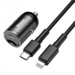 BASEUS TZVCHX-0G PD TYPE-CAR CHARGER WITH TYPE-C TO LIGHTNING CABLE GREY