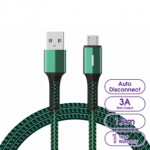 LANEX N15M AUTO CUT POWER MICRO USB CABLE WITH BREATHING LED 1.2METRE GREEN