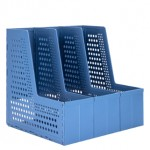 DELI FOLDABLE MAGAZINE HOLDER A4 3-GRIDS DARK BLUE 79005