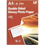 U8 A4 2-SIDED GLOSSY PAPER 220GSM (20sheets)