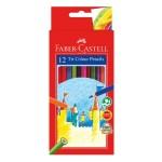 FABER-CASTELL TRI COLOUR PENCILS - 12 LONG